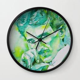 NIKOLA TESLA - watercolor portrait.4 Wall Clock
