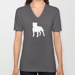 White Staffordshire Bull Terrier Silhouette Unisex V-Neck