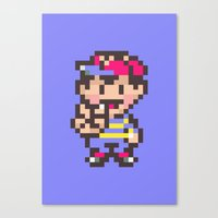 earthbound Canvas Prints featuring Ness (Peace) - Earthbound / Mother 2 by Studio Momo╰༼ ಠ益ಠ ༽