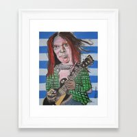 neil young Framed Art Prints featuring Neil Young by Robert E. Richards