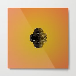 fractal black skull portrait with orange abstract background Metal Print