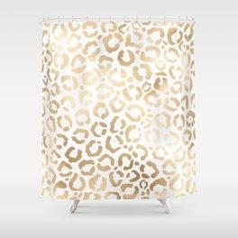 Elegant Gold White Leopard Cheetah Animal Print Shower Curtain