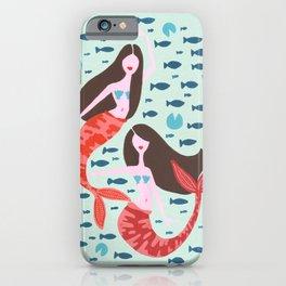 Koi Mermaids on Mint iPhone Case