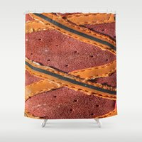 sport Shower Curtains featuring Texture Sport Schoes by Fine2art
