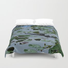 Florida Gator Amongst The Waterlilies Duvet Cover
