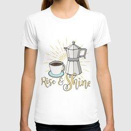 Rise and shine | Coffee art print | Stovetop espresso T-shirt