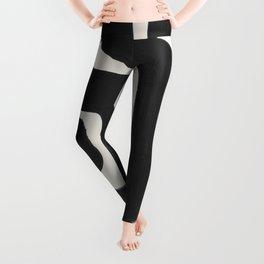 Black Ink Paint Brush Strokes Abstract Organic Pattern Mid Century Style Leggings
