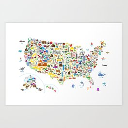 Animal Map of United States for children and kids Art Print