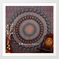 bedding Art Prints featuring Blue Printed Elephant Tapestry Bedding by Ved India
