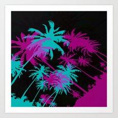 California Palm Trees at Night  Art Print