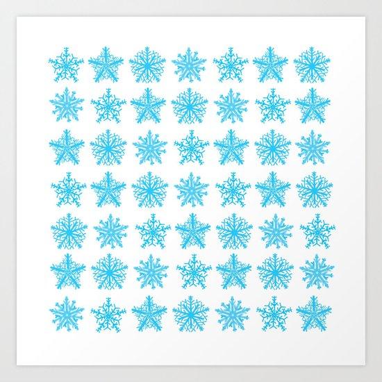 Sky Blue Star Pattern Art Print