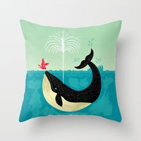 positive Throw Pillows featuring The Bird and The Whale by Oliver Lake