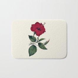 Vintage ivory white red green botanical flower Bath Mat