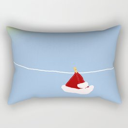 santa hat on clothesline Rectangular Pillow