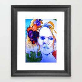 Blonde Girl With Flowers in her hair Framed Art Print