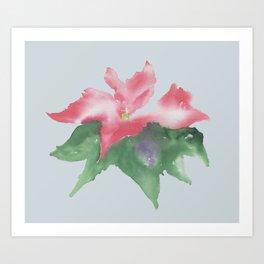 Red flower watercolor Art Print