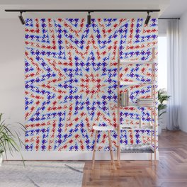 Houndstooth Red White and Blue Psychedelic Star Pattern Wall Mural