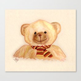 Cuddly Bear Watercolor Canvas Print