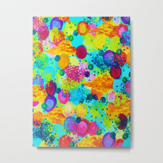 TIME FOR BUBBLY - Colorful Bright Bold Abstract Acrylic Painting, Turquoise Royal Blue Magenta Metal Print