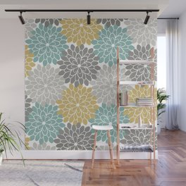Pastel Petals in Light Amber, Light Opal, Pale and Dark Grey Wall Mural
