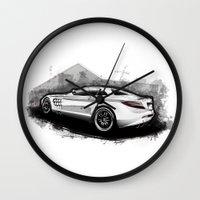 mercedes Wall Clocks featuring Mercedes-Benz SLR McLaren 722 by an.artwrok
