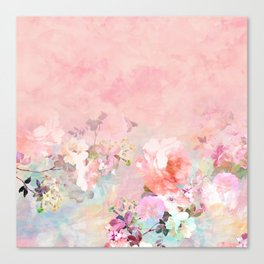 Modern blush watercolor ombre floral watercolor pattern Canvas Print