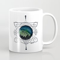 northern lights Mugs featuring Northern Lights by HaleySayersArt