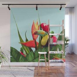 Toucan Tropical Banana Leaves Bouquet Wall Mural