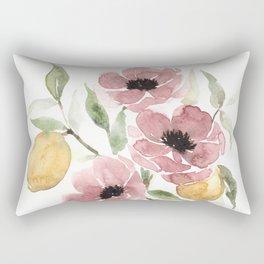 Watercolor-poppies-and-lemons Rectangular Pillow