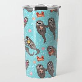 Otters Playing - Aquamarine Background Travel Mug