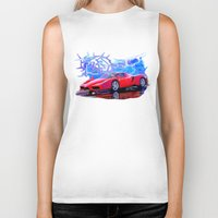 ferrari Biker Tanks featuring Ferrari Enzo by JT Digital Art