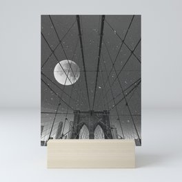 Blood Moon over Brooklyn Bridge and New York City Mini Art Print