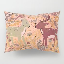 Deer & Doe in Woodland Fern Forest , Cute Stag meets his Love hidden among the Plants Pillow Sham