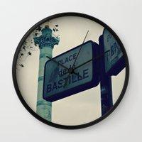 bastille Wall Clocks featuring Bastille by iokk