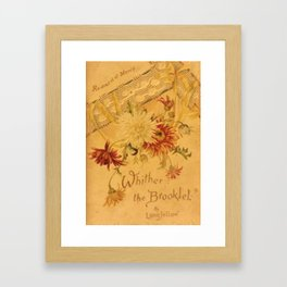 Antique Book Cover for literacy lovers  Floral with ivory and red #longfellow #poetry Framed Art Print