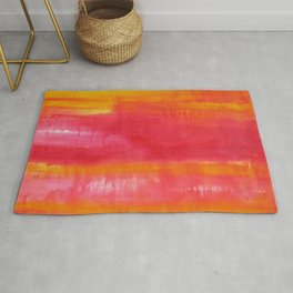 'Summer Day'  Orange Red Yellow Abstract Art Rug