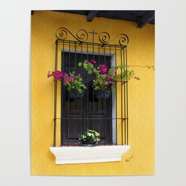 Window at Old Antigua, Guatemala Poster