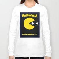 pac man Long Sleeve T-shirts featuring pac-man by CJones5105