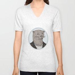 Otter Head Blazer Shirt Oval Drawing Unisex V-Neck