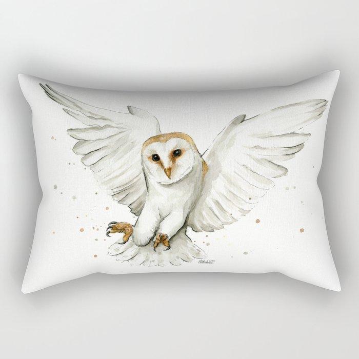 Barn Owl Flying Watercolor | Wildlife Animals Rectangular Pillow