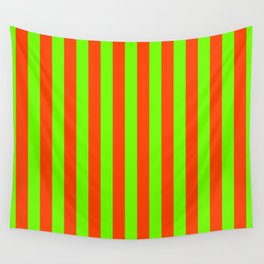 Super Bright Neon Orange and Green Vertical Beach Hut Stripes Wall Tapestry