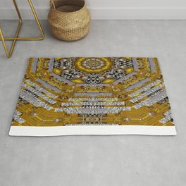 Mandala pattern with metal Rug