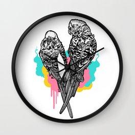 Pretty Budgies Wall Clock