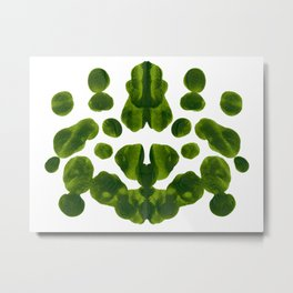 Organic Green Inkblot Bubble Pattern Metal Print