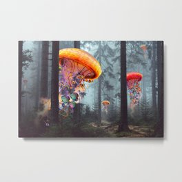 ElectricJellyfish Worlds in a Forest Metal Print