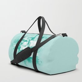 Butterflies and tropical flowers in stunning teal Duffle Bag