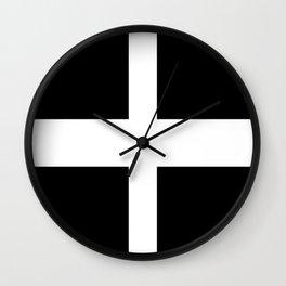 Saint Piran's Flag of Cornwall UK Wall Clock