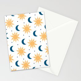 Sun & Moon Pattern - White Stationery Cards