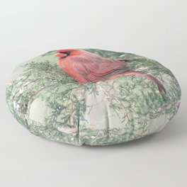 Christmas Bird (Northern Cardinal) Floor Pillow