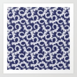 Blue Tie dye batik shibori  Art Print